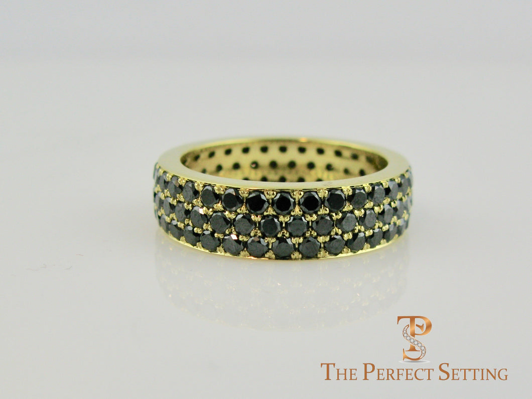 Black Diamond Pave Ring 18K Yellow Gold