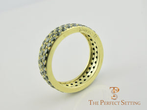 Black Diamond Pave Ring 18K Yellow Gold side view