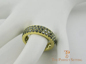Black Diamond Pave Ring 18K Yellow Gold on finger