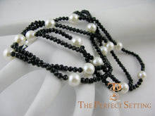 Load image into Gallery viewer, Black Spinel Cultured Pearl Necklace