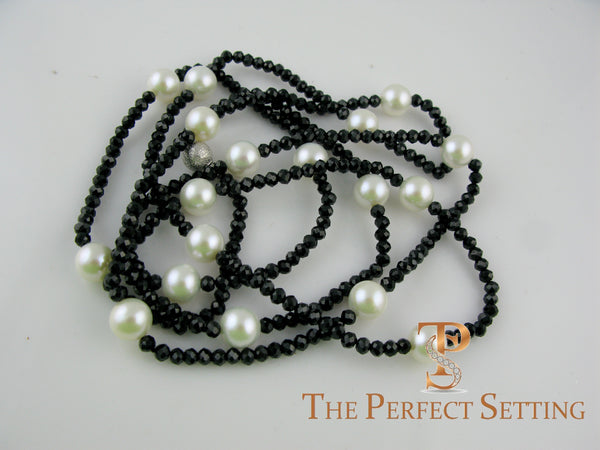 Black Spinel Cultured Pearl Necklace Hand Made Nyc The