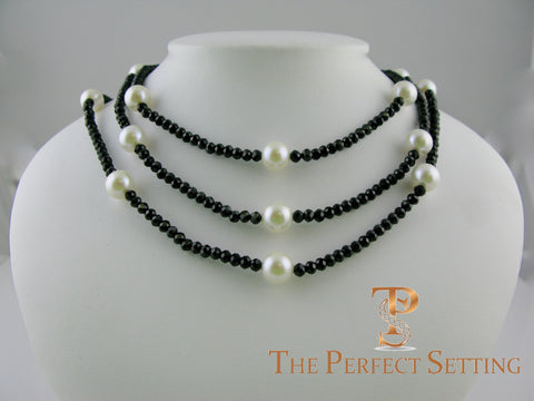 Black Spinel Cultured Pearl Necklace
