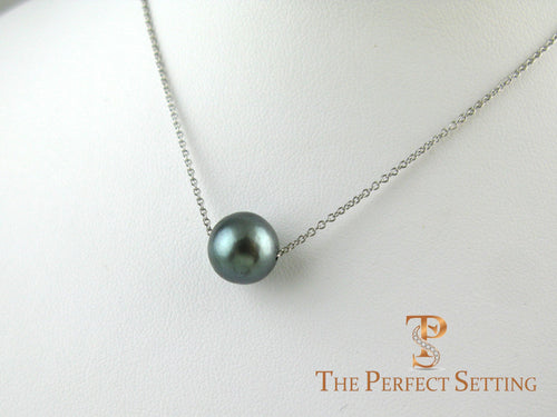 Round Tahitian Pearl Necklace on Gold Chain