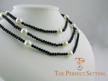 Load image into Gallery viewer, Black Spinel Cultured Pearl Necklace triple strand