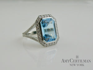 Custom Large Blue Topaz and Diamond Cocktail Ring