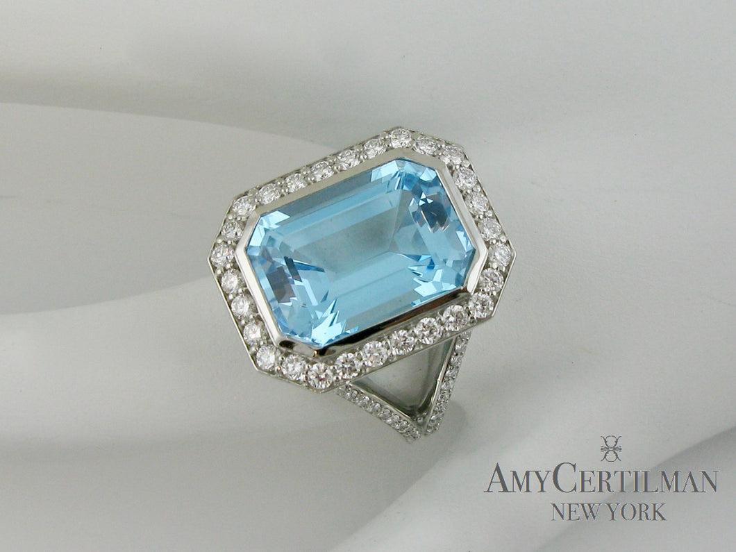 Large Blue Topaz and Diamond Cocktail Ring