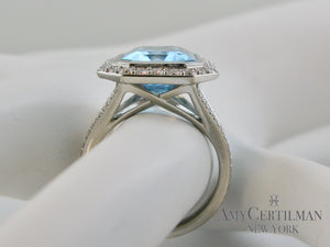 Large Blue Topaz and Diamond Cocktail Ring side
