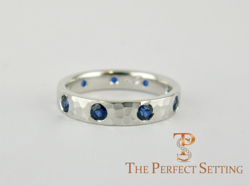 Modern Burnished Sapphire Hand Hammered Ring