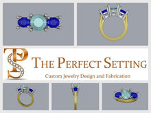 Load image into Gallery viewer, CAD image of custom sapphire and diamond engagement ring