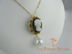 cameo pendant with baroque pearl