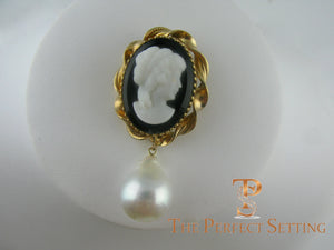 cameo pin with baroque pearl