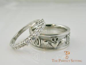 vintage scroll 7 stone diamond wedding band with claddagh celtic knot