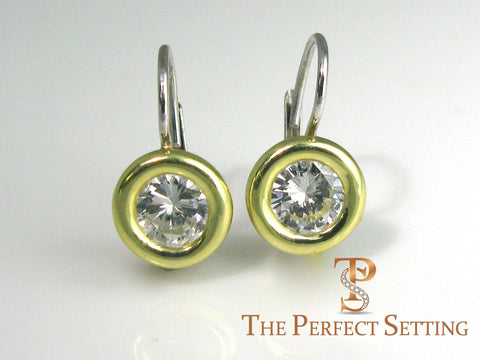 Chunky Bezel Set Diamond Wire Earring