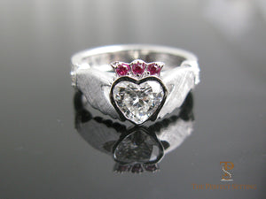 Claddagh Celtic Knot Engagement Ring Diamond and Pink Sapphires