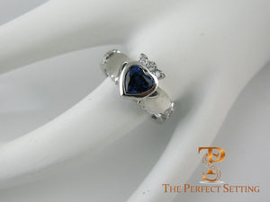 Claddagh Celtic Knot Ring with Sapphire Heart