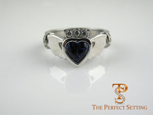 Claddagh Celtic Knot Engagement Ring with Sapphire Heart