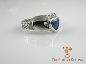 Custom Celtic Knot Ring with Sapphire Heart