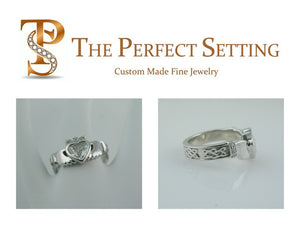 Claddagh Celtic Knot Engagement Ring all Diamonds
