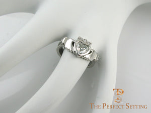 Diamond Claddagh Celtic Knot Engagement Ring