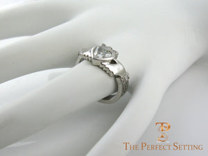 Diamond Claddagh Celtic Knot Engagement Ring side ways
