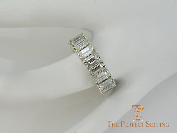 Emerald Cut Diamond Eternity Band Classic Platinum Setting finger