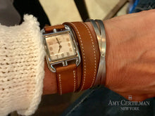 Load image into Gallery viewer, criss cross gold diamond cuff bracelet hermes
