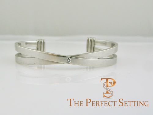 criss cross cuff stacking love bracelet platinum