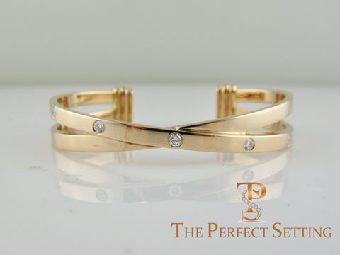 criss cross gold diamond cuff bracelet