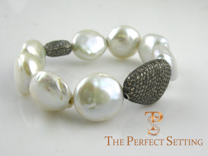 Cultured Pearl Bracelet with Champagne Diamonds