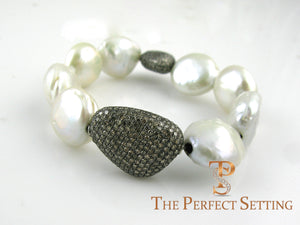 Cultured Pearl Bracelet with Champagne Diamonds 3
