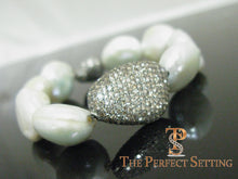 Load image into Gallery viewer, Cultured Pearl Bracelet with Champagne Diamonds 2