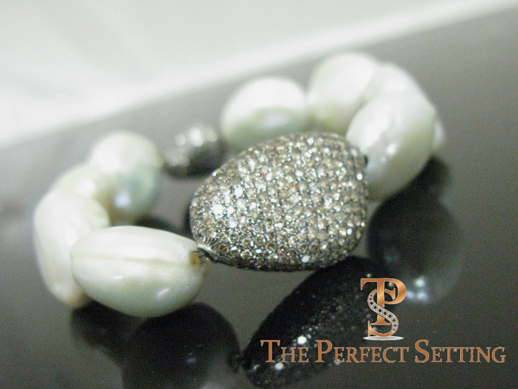 Cultured Pearl Bracelet with Champagne Diamonds 2