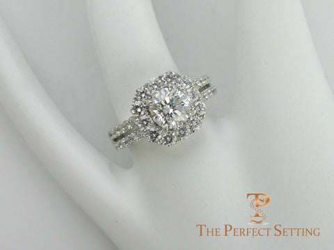 Cushion Halo Engagement Ring with Round Diamond Split Shank