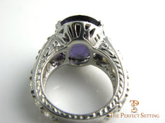 custom Amethyst and diamond anniversary ring side view