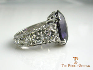 Custom Alexandrite Diamond Anniversary Ring side