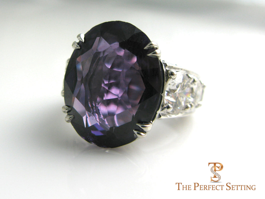 Custom Alexandrite Diamond Anniversary Ring front
