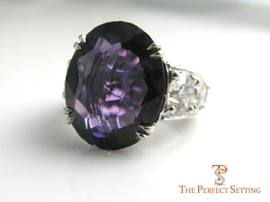 Amethyst and diamond anniversary ring