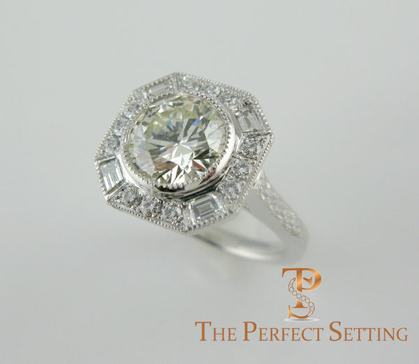 Deco Inspired Diamond Engagement Ring Baguettes Round Halo