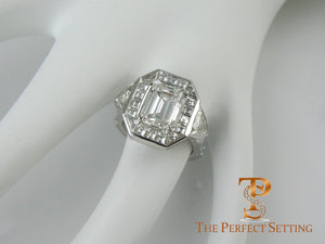 Emerald Cut Diamond Ring with Baguette Halo Engagement Ring