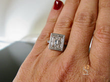 Load image into Gallery viewer, Deco Emerald Cut Diamond Ring Baguette Halo Adjustable Shank Arthritis finger