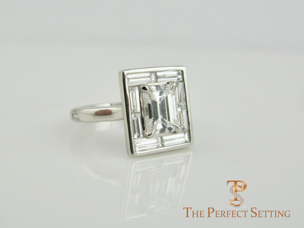 Deco Emerald Cut Diamond Ring Baguette Halo Adjustable Shank