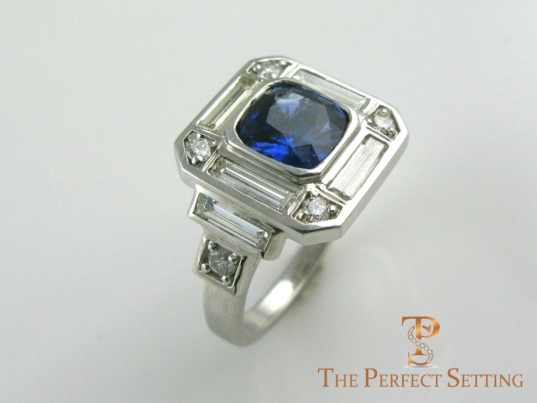 Sapphire and Diamond Deco inspired engagement ring