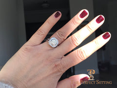 Deco round halo diamond ring selfie