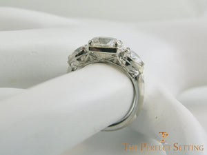 The Fountain Head Deco Themed 3 Stone Cultured Lab Diamond Engagement Ring