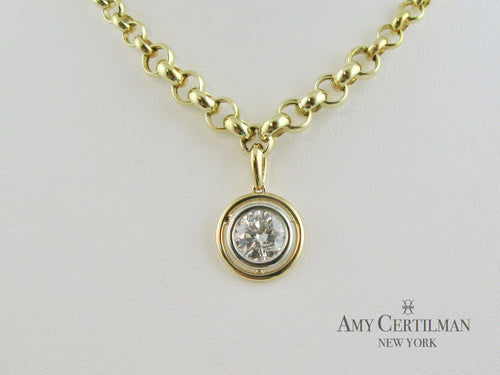bezel set diamond white and yellow gold necklace