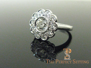 Vintage Diamond Flower Cluster Ring
