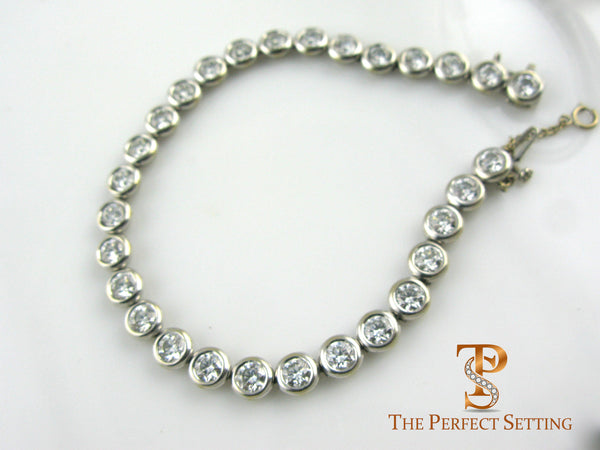 Bezel set diamond tennis bracelet