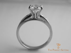 Diamond engagement ring channel setting side up