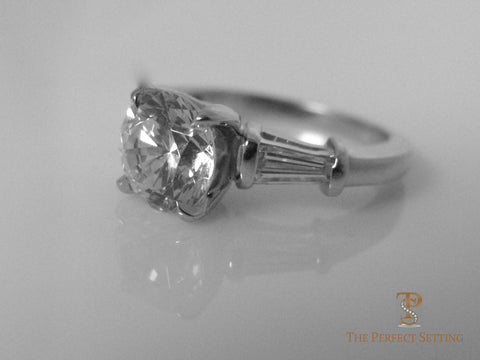 Diamond Solitaire Engagement Ring with Baguettes