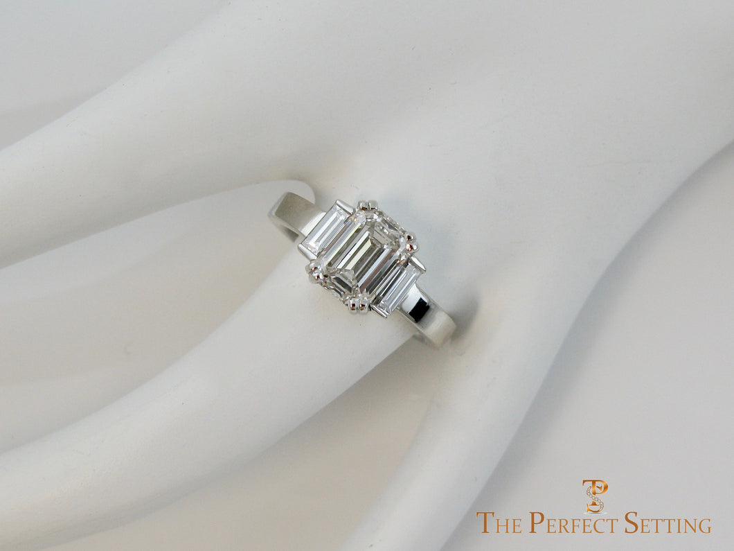 Modern Deco Emerald Cut Engagement Ring Lab Grown Diamond
